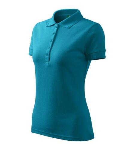 DAMSKA Koszulka Polo PIQUE ciemno turkusowa