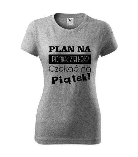 śmieszna koszulka z nadrukiem PLAN NA PONIEDZIAŁEK